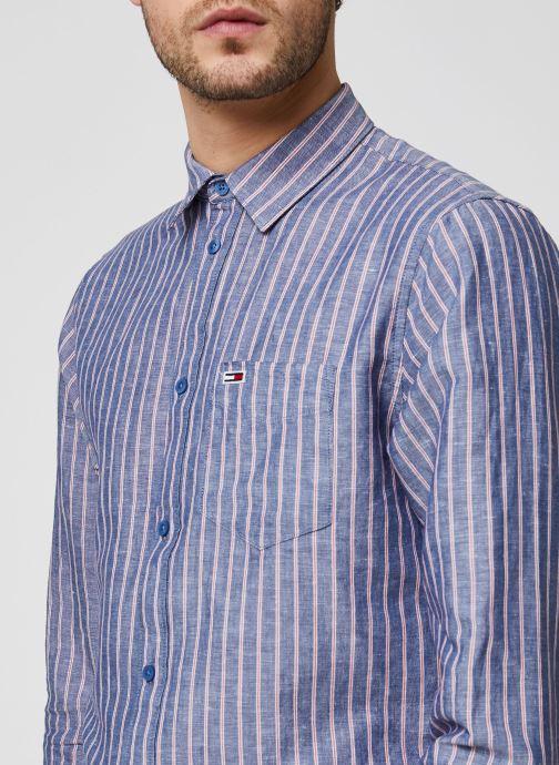 Vêtements Tommy Jeans TJM Linen Blend Shirt Bleu vue face