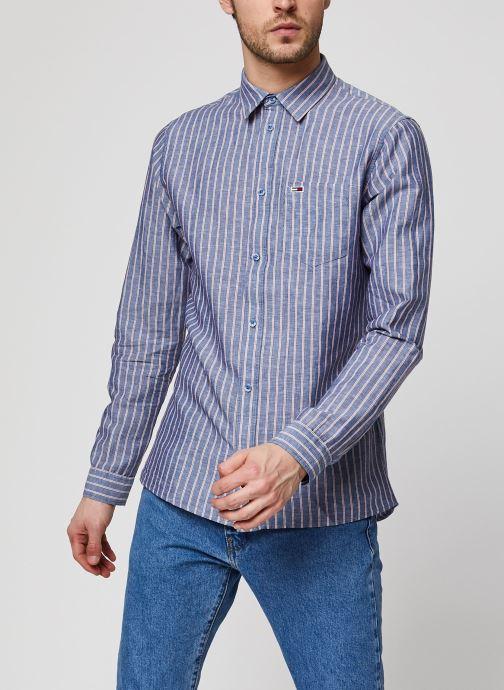 Kleding Tommy Jeans TJM Linen Blend Shirt Blauw rechts