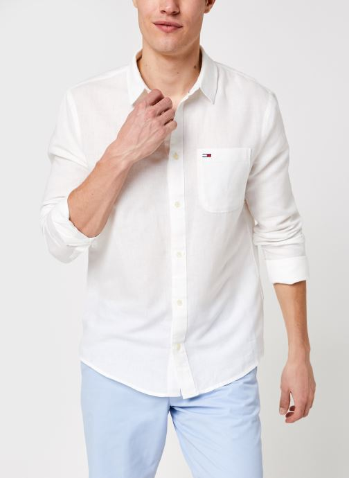 Vêtements Tommy Jeans TJM Linen Blend Shirt Blanc vue détail/paire