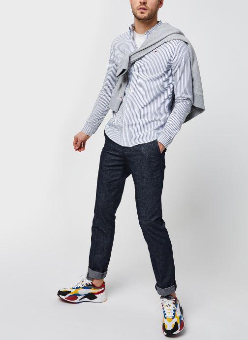 Vêtements Tommy Jeans TJM Stripe Stretch Poplin Shirt Bleu vue bas / vue portée sac