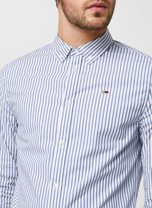 Vêtements Tommy Jeans TJM Stripe Stretch Poplin Shirt Bleu vue face