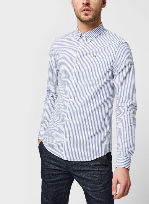 Vêtements Tommy Jeans TJM Stripe Stretch Poplin Shirt Bleu vue droite