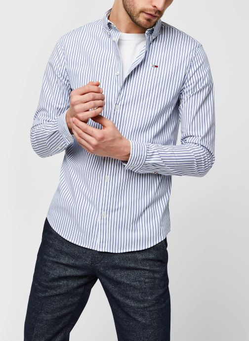 Vêtements Tommy Jeans TJM Stripe Stretch Poplin Shirt Bleu vue détail/paire
