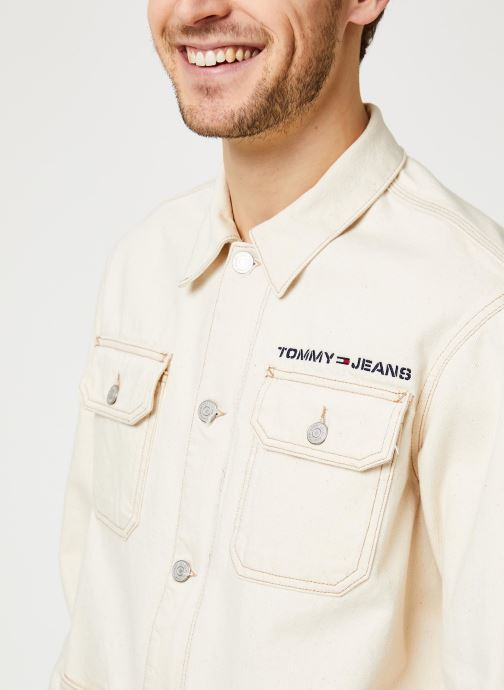Vêtements Tommy Jeans Oversize Workwear Jacket Wrkec Beige vue face