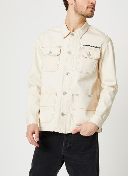 Vêtements Tommy Jeans Oversize Workwear Jacket Wrkec Beige vue droite