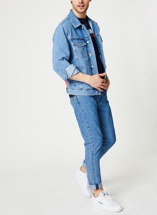 Tøj Tommy Jeans Oversize Trucker Jacket Tmyflg Blå se forneden
