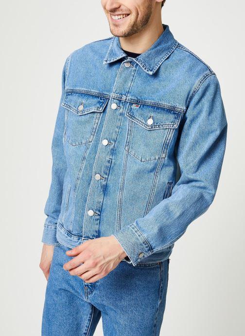 Kläder Tommy Jeans Oversize Trucker Jacket Tmyflg Blå Bild från höger sidan