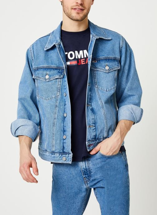 Kläder Tommy Jeans Oversize Trucker Jacket Tmyflg Blå detaljerad bild på paret