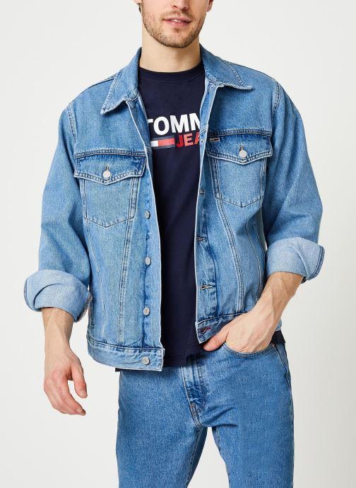 Tøj Tommy Jeans Oversize Trucker Jacket Tmyflg Blå detaljeret billede af skoene