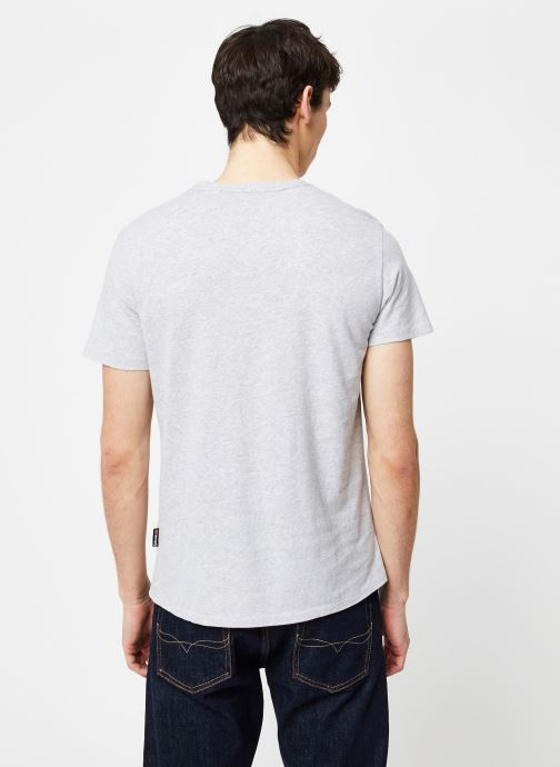 Vêtements Schott T-Shirt Logomix Grand Logo Gris vue portées chaussures