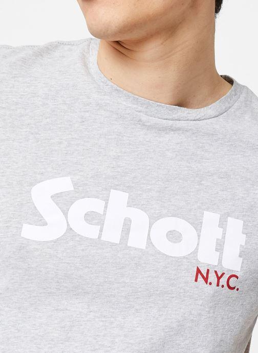 Vêtements Schott T-Shirt Logomix Grand Logo Gris vue face