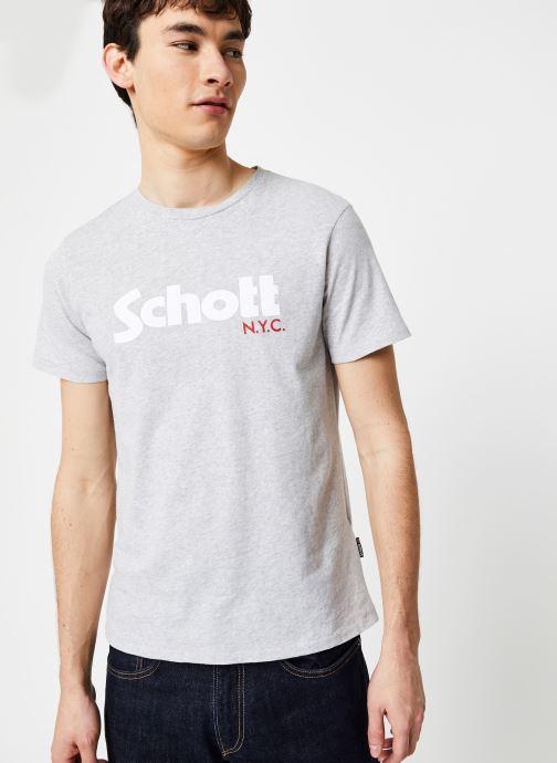 Vêtements Schott T-Shirt Logomix Grand Logo Gris vue droite