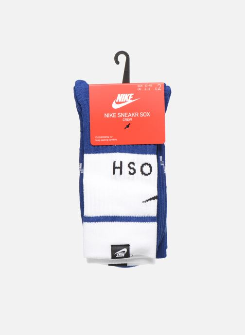 Chaussettes et collants Nike U Snkr Sox Crew 2Pr - Swoosh Bleu vue portées chaussures
