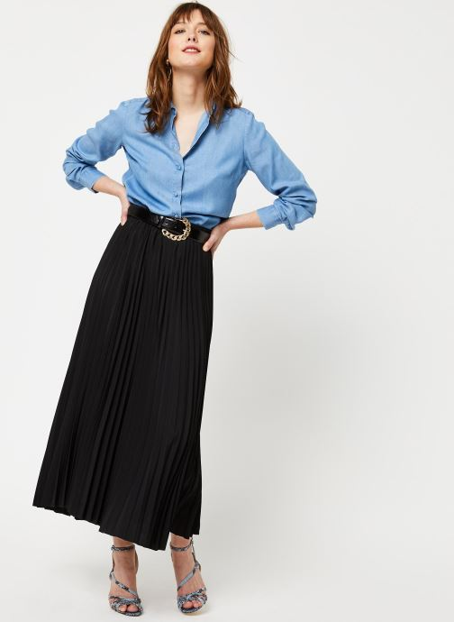 Vêtements Selected Femme SLFALEXIS MW MIDI SKIRT NOOS Noir vue bas / vue portée sac