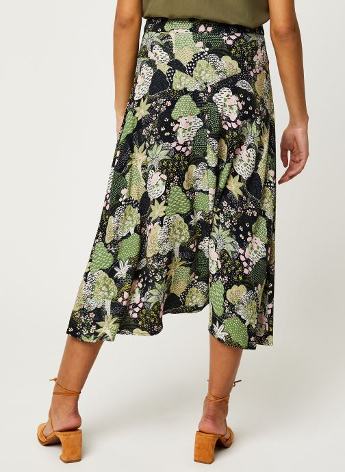 Vêtements Selected Femme SLFMARINA MW MIDI AOP SKIRT B Vert vue portées chaussures