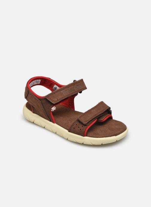 Sandales et nu-pieds Timberland Nubble Leather And Fabric 2-Strap Rebotl Marron vue détail/paire