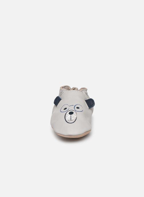 Hausschuhe Robeez Nerd Bear grau schuhe getragen