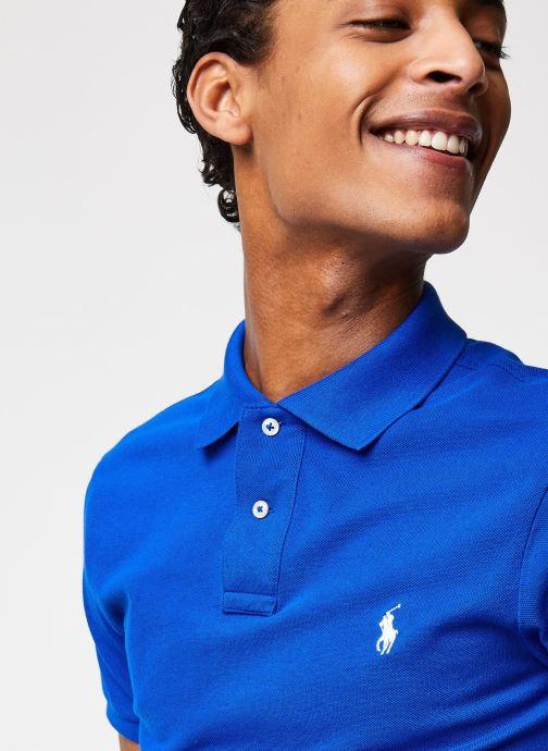 Vêtements Polo Ralph Lauren Polo MC Basic Mesh Slim Pony Bleu vue face