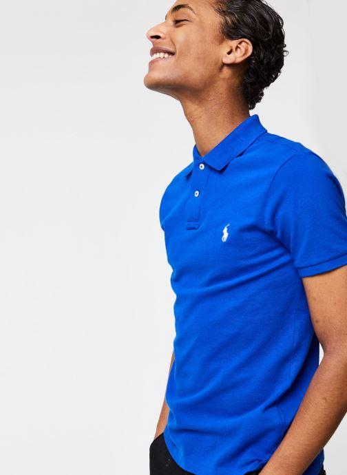 Vêtements Polo Ralph Lauren Polo MC Basic Mesh Slim Pony Bleu vue détail/paire