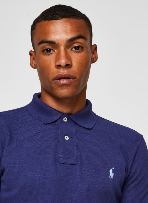 Vêtements Polo Ralph Lauren Polo MC Basic Mesh Slim Pony Bleu vue face