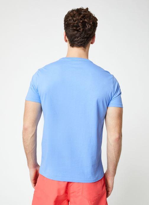 Vêtements Polo Ralph Lauren T-Shirt MC Jersey Custom Slim Bleu vue portées chaussures