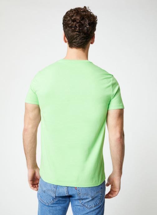 Vêtements Polo Ralph Lauren T-Shirt MC Jersey Custom Slim Vert vue portées chaussures