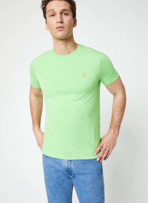 Vêtements Polo Ralph Lauren T-Shirt MC Jersey Custom Slim Vert vue droite