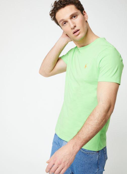 Vêtements Polo Ralph Lauren T-Shirt MC Jersey Custom Slim Vert vue détail/paire