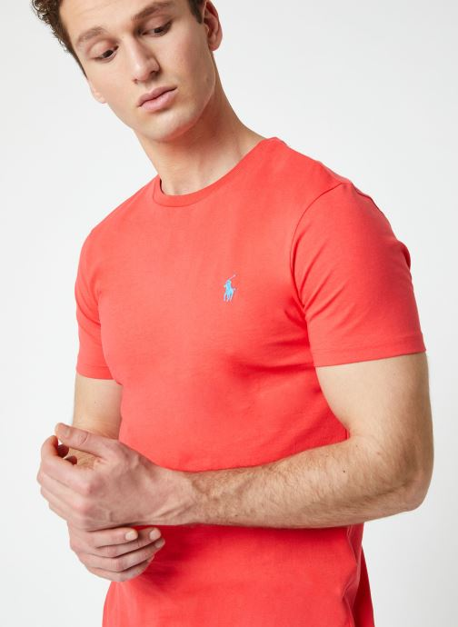 Vêtements Polo Ralph Lauren T-Shirt MC Jersey Custom Slim Rouge vue détail/paire