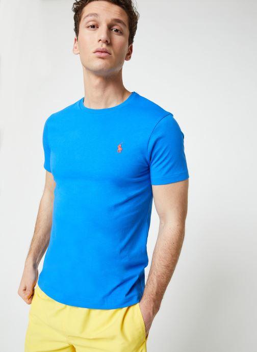 Vêtements Polo Ralph Lauren T-Shirt MC Jersey Custom Slim Bleu vue droite