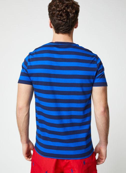 Vêtements Polo Ralph Lauren T-Shirt MC Marinière Pony Bleu vue portées chaussures