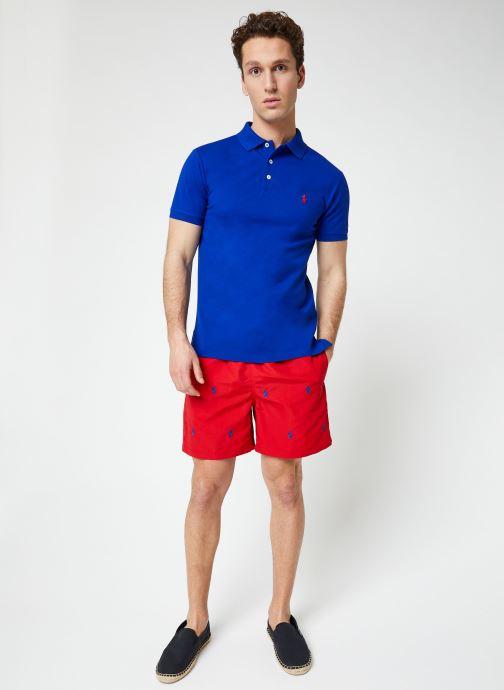 Vêtements Polo Ralph Lauren Polo MC Stretch Slim Pony Bleu vue bas / vue portée sac