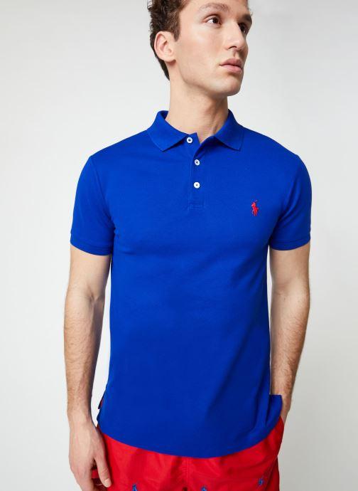 Vêtements Polo Ralph Lauren Polo MC Stretch Slim Pony Bleu vue droite