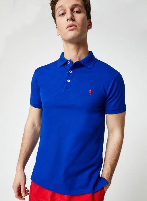 Vêtements Polo Ralph Lauren Polo MC Stretch Slim Pony Bleu vue détail/paire