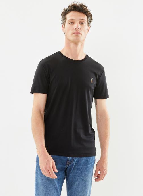 Vêtements Polo Ralph Lauren T-Shirt Pima Polo Custom Slim Pony Noir vue droite