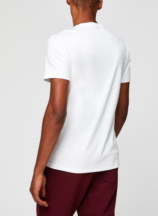Vêtements Polo Ralph Lauren T-Shirt Pima Polo Custom Slim Pony Blanc vue portées chaussures