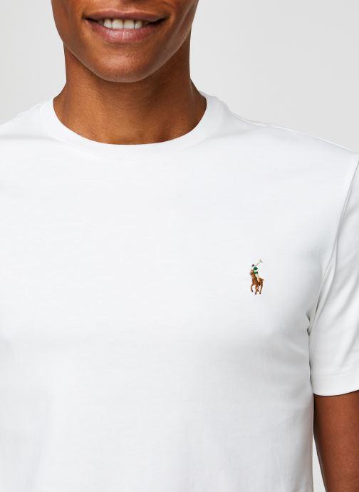 Vêtements Polo Ralph Lauren T-Shirt Pima Polo Custom Slim Pony Blanc vue face