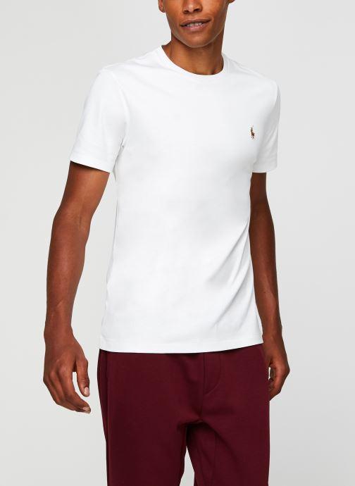 Vêtements Polo Ralph Lauren T-Shirt Pima Polo Custom Slim Pony Blanc vue droite