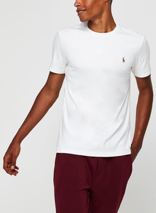 Vêtements Polo Ralph Lauren T-Shirt Pima Polo Custom Slim Pony Blanc vue détail/paire