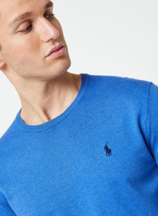 Vêtements Polo Ralph Lauren Pull ML Pima Cotton Slim Pony Bleu vue face