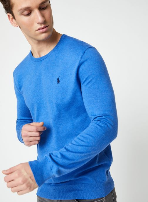 Vêtements Polo Ralph Lauren Pull ML Pima Cotton Slim Pony Bleu vue droite