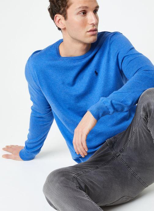 Vêtements Polo Ralph Lauren Pull ML Pima Cotton Slim Pony Bleu vue détail/paire