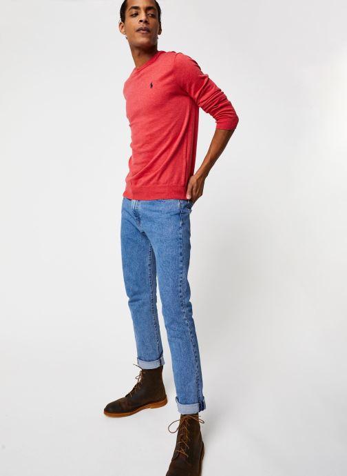 Vêtements Polo Ralph Lauren Pull ML Pima Cotton Slim Pony Rouge vue bas / vue portée sac