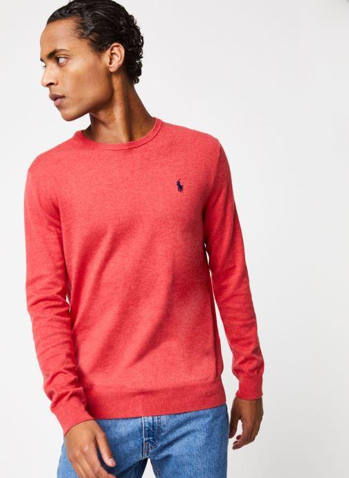 Vêtements Polo Ralph Lauren Pull ML Pima Cotton Slim Pony Rouge vue droite