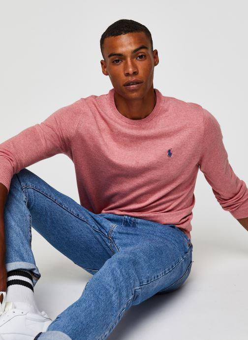 Vêtements Polo Ralph Lauren Pull ML Pima Cotton Slim Pony Rose vue détail/paire