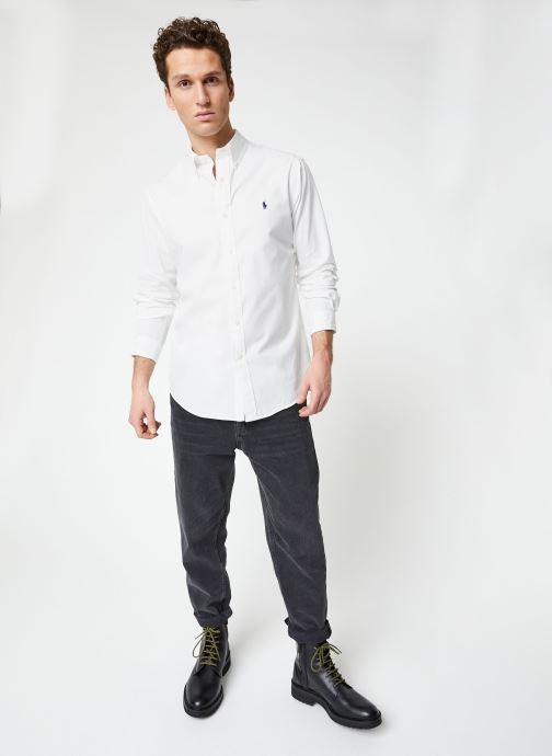 Vêtements Polo Ralph Lauren Chemise ML Chino Custom Pony Blanc vue bas / vue portée sac