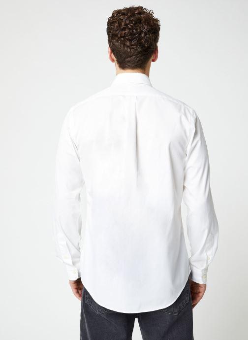 Vêtements Polo Ralph Lauren Chemise ML Chino Custom Pony Blanc vue portées chaussures