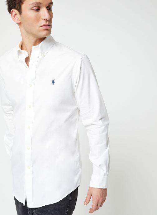 Vêtements Polo Ralph Lauren Chemise ML Chino Custom Pony Blanc vue détail/paire