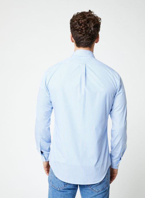 Vêtements Polo Ralph Lauren Chemise ML Poplin Slim Pony Blanc vue portées chaussures