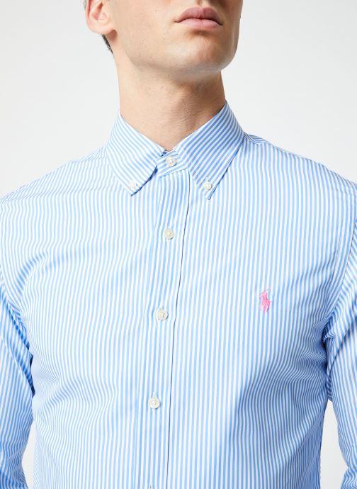 Vêtements Polo Ralph Lauren Chemise ML Poplin Slim Pony Blanc vue face